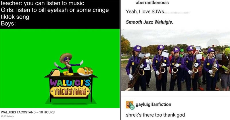 Funny dank memes about Waluigi from the Super Mario universe | teacher can listen music Girls: listen bill eyelash or some cringe tiktok song Boys: WALUIGI'S TACOSTAND WALUIGIS TACOSTAND. aberrantkenosis Yeah love SJW Smooth Jazz Waluigis. gayluigifanfiction shrek's there too thank god