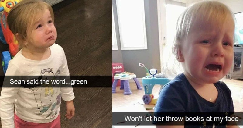 Irrational reasons that toddlers had total breakdowns | small kids children scream crying meltdowns Sean said word green. Won't let her throw books at my face.