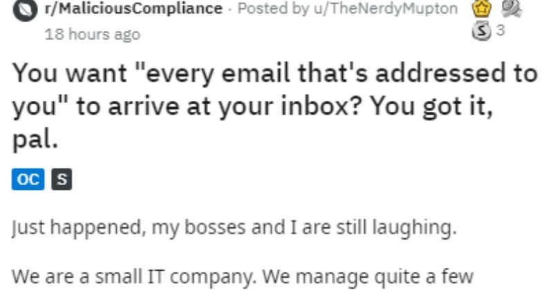 Client demands to have all spam sent to his email | r/MaliciousCompliance Posted by TheNerdyMupton want every email addressed arrive at inbox got pal. Just happened, my bosses and are still laughing are small company manage quite few clients
