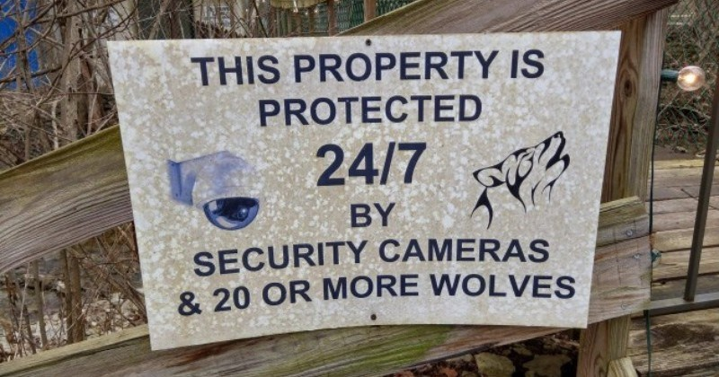 Creepy signs that aren't joking around at all when it comes to warning people | THIS PROPERTY IS PROTECTED 24/7 BY SECURITY CAMERAS 20 OR MORE WOLVES