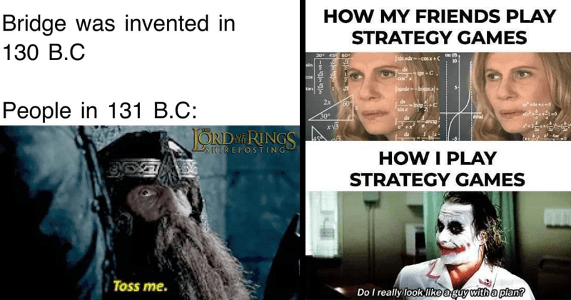 funny memes, funny tweets, shrek memes, lord of the rings memes, gimli, dank memes, twitter memes | lotr lord of the rings gimli dwarf: Bridge invented 130 B.C People 131 B.C: Toss me. confused math lady: MY FRIENDS PLAY STRATEGY GAMES 30° 459 60° jsin xdhe cosx +C 10 sin igx +C. COs tan 60 dx +C sinx 30° eiad arcig +x Aac PLAY STRATEGY GAMES Do really look lke guy with plan?