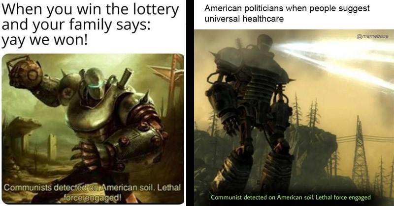 "Funny dank memes from Fallout 3 entitled, ""Communist Detected on American Soil"" 