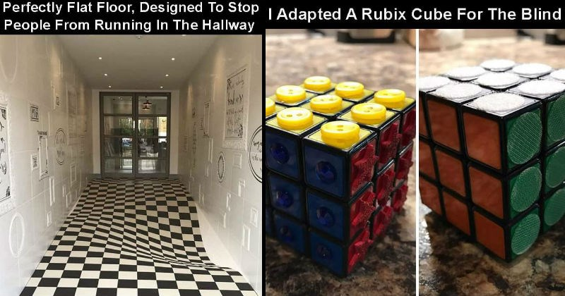 Innovations and inventions | hallway with checkered floor that appears to dip in the middle of it: Perfectly Flat Floor, Designed Stop People Running Hallway. rubix cube with different textures instead of colors: Adapted Rubix Cube Blind