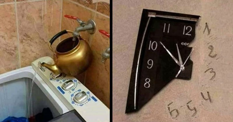 Funny low budget DIY fixes | metal pot attached to a tap in the wall pouring water into an open washing machine. broken clock, the missing numbers are instead written on the wall its hanging on