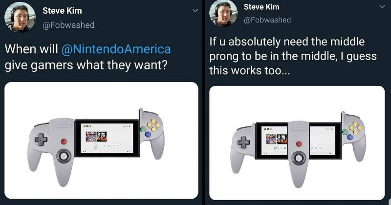 Video gamers start Twitter thread about Nintendo console modifications | tweet by Steve Kim @Fobwashed will @NintendoAmerica give gamers they want? If u absolutely need middle prong be middle guess this works too