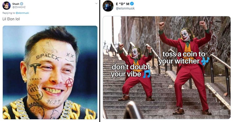 "Funny memes and Twitter reactions to Elon Musk releasing a new song, called ""Don't Doubt ur Vibe"" 