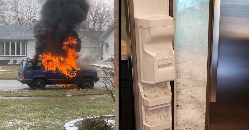 Failure, chaos, misfortune | car completely engulfed by flames letting out a black cloud of smoke parked in a street. ice maker that filled the entire fridge with ice cubes.