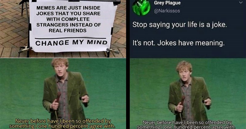 "Funny dank memes entitled, ""Never before have I been so offended by something I 100 percent agree with"" featuring comedian James Acaster 