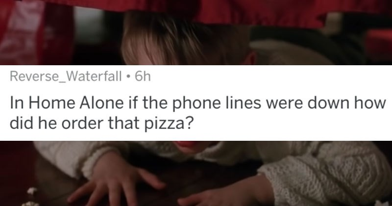 AskReddit replies to the biggest plot holes that people have ever seen | posted by Reverse_Waterfall Home Alone if phone lines were down did he order pizza?