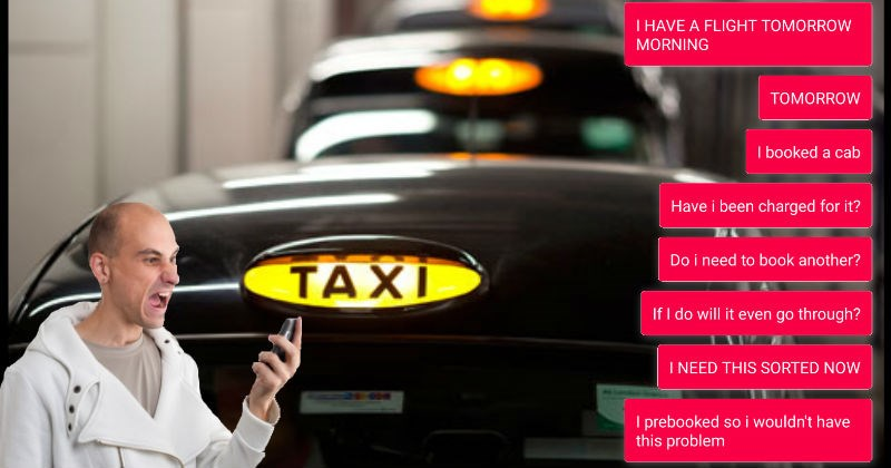 customer service ride FAIL disaster text taxi