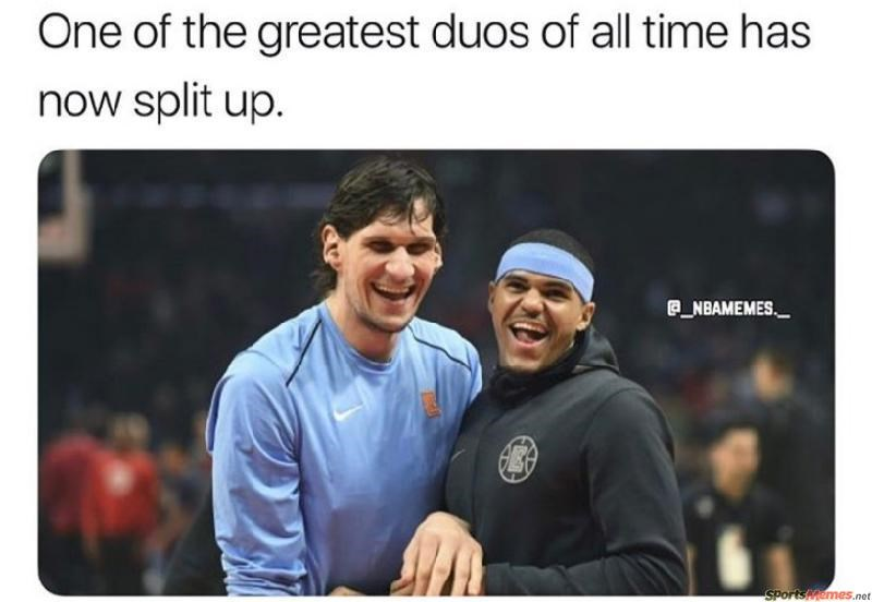 a perfect collection of sports memes to satisfy even the most avid fan. The cover photo is off Boban Marjanovic And Tobias Harris as one of the greatest duos and heartbreaking splits in NBA history