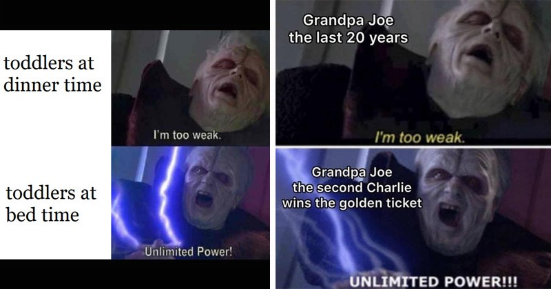 "Funny dank memes from the Star Wars prequels entitled, ""Darth Sidious Unlimited Power"" Emperor Palpatine 