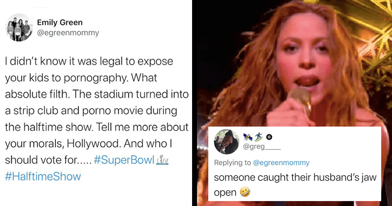 funny tweets in response to woman who thinks the super bowl halftime show is basically pornography, kansas city chiefs, shakira, jennifer lopez | tweet by Emily Green @egreenmommy didn't know legal expose kids pornography absolute filth stadium turned into strip club and porno movie during halftime show. Tell more about morals, Hollywood. And who should vote SuperBowl LIM #HalftimeShow @greg. Replying egreenmommy someone caught their husband's jaw open