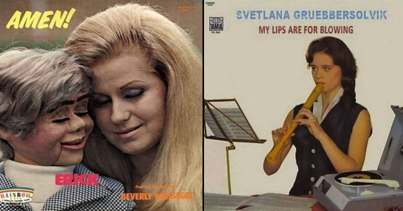 Awkward weird fail album covers | blonde woman touching her forehead to that of a ventriloquist dummy AMEN! RAINBOW BEVERLY SVETLANA GRUEBBERSOLVIK TAMIA MY LIPS ARE BLOWING woman playing a recorder