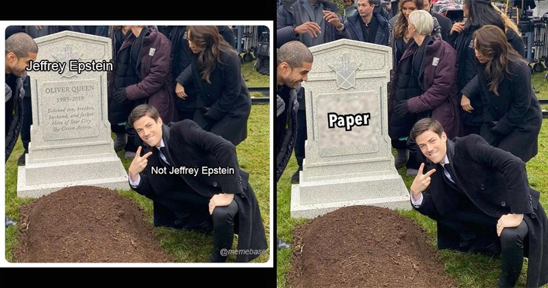 Funny dank memes of actor Grant Gustin crouching and making a peace sign next to Oliver Queen's grave object labeling headstone gravestone green arrow   Jeffrey Epstein OLIVER QUEEN 1985-2019 Beloved son, brother, husband, and father Here Star City Green Arrow Not Jeffrey Epstein @memebase Paper