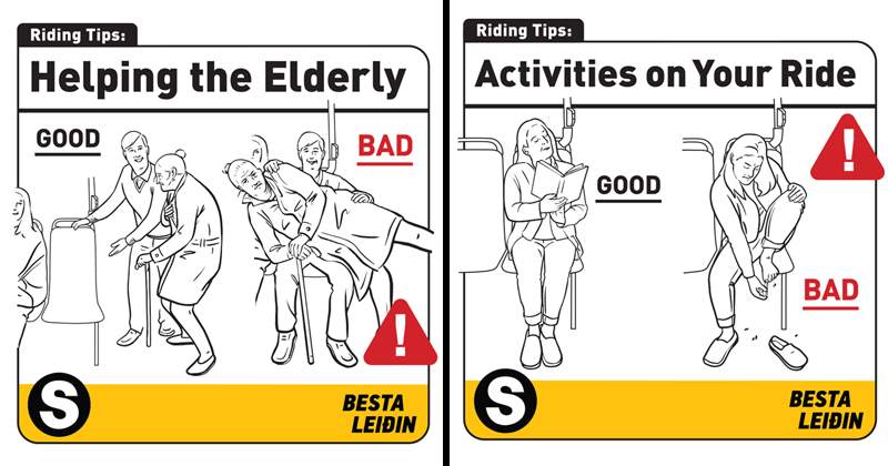 funny bus safety tips david sopp iceland | Riding Tips: Helping Elderly GOOD BAD BESTA LEI man offering seat to grandma vs man holding grandma on top of him. Riding Tips: Activities on Ride GOOD BAD BESTA LEIÐ woman reading on bus vs woman clipping her nails on the bus