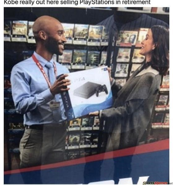 the best sports memes from all over the spectrum. The cover photo is of a Kobe Bryant doppelganger selling a PlayStation 4 to a woman at a video game retail store