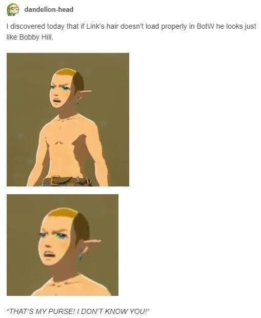 top ten 10 tumblr posts daily | dandelion-head discovered today if Link's hair doesn't load properly BotW he looks just like Bobby Hill MY PURSE DON'T KNOW legend of zelda
