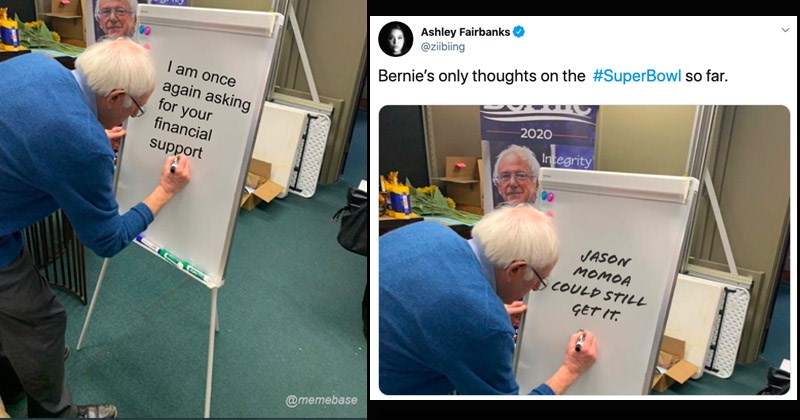 Funny dank memes about Bernie writing a message on a whiteboard | Bernie 2020 Integrity am once again asking financial support @memebase tweet by Ashley Fairbanks @ziibiing Bernie's only thoughts on SuperBowl so far. 2020 Integrity JASON MOMOA COULD STILL GET
