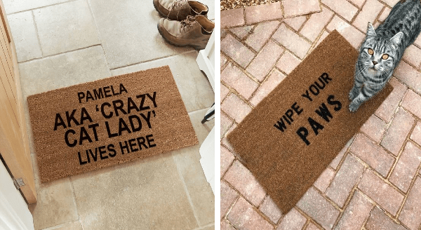 Doormats welcome mats for cat owners and cat lovers | doormat on tiled floor PAMELA AKA 'CRAZY CAT LADY' LIVES HERE doormat on red bricks WIPE PAWS