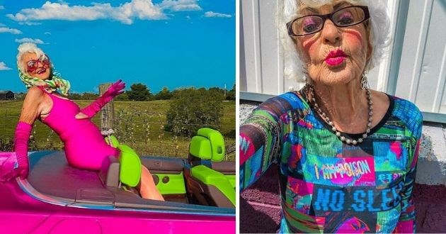 Baddie Winkle, Instagram, Influencer, Fashion, Great-grandma, style icon, style, 91-year-old | grandma in a vibrant pink dress sitting in the back of a pink Cadillac with green seats, grandma wearing heavy pink makeup and a colorful shirt takes selfie doing a duck face