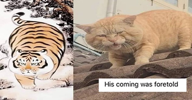 cats caturday funny memes cat animals lol saturday dump new fresh cute | traditional japanese art drawing of a grumpy chonky tiger next to a photo of a big orange cat with a similar expression His coming foretold