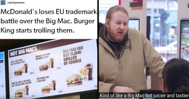 Throwback fail for the time that McDonald's lost the EU trademark battle over the Big Mac | catchymemes McDonald's loses EU trademark battle over Big Mac. Burger King starts trolling them. NOT BIG MAC'S BIG MAC-ISH BUT FLAME- GRILLED COURSE 93 BURGER BIG MAC WISHED LIKE BIG MAC BUT ACTUALLY BIG EAFE 89 ANYTHING BUT BIG MAC KIND LIKE BIG MAC, BUT JUICIER AND TASTIER kind of like a big mac but juicier and tastier