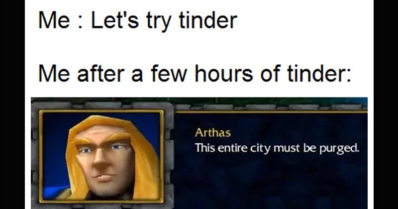 "Funny dank memes from Warcraft III: Reign of Chaos quote by Arthas Menethil long haired blonde character about killing plague stricken city, ""This Entire City Must Be Purged"" 