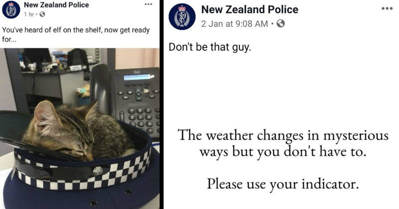 A collection of times that New Zealand kept it cool on social media | tweet by New Zealand Police heard elf on shelf, now get ready. cat in a police hat. Don't be guy weather changes mysterious ways but don't have Please use indicator.