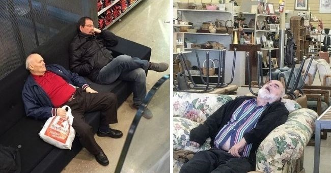 men, shopping, miserable, funny pics, funny pictures, asleep, Instagram, bored, waiting | group of men sitting on a display between mannequins in bras looking bored and tired. wooden husband chair.