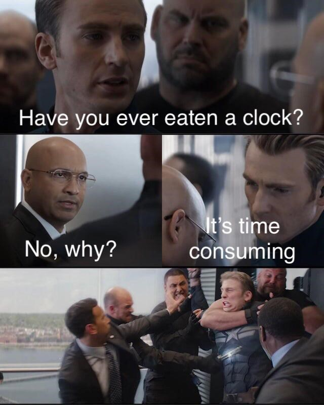top ten 10 memes daily | captain america steve rogers attacked in elevator bad pun meme Have ever eaten clock s time consuming No, why?