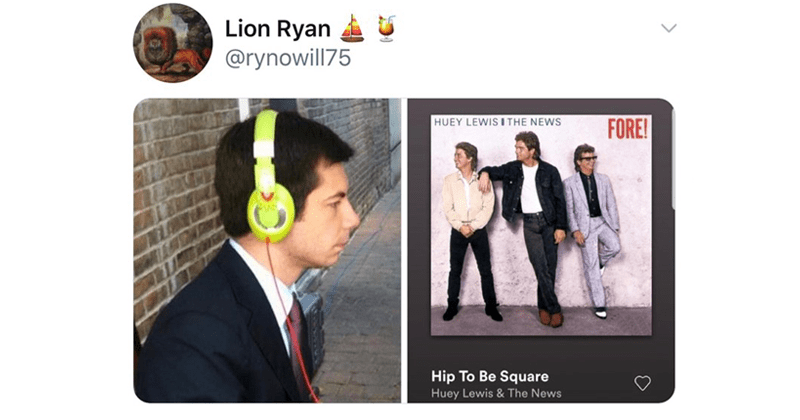 funny memes about pete buttigieg wearing bright green headphones, spotify, music, bernie sanders, democrats, presidential elections | tweet by Lion Ryan @rynowill75 HUEY LEWIS AND THE NEWS FORE! Hip Be Square Huey Lewis News. American Psycho movie reference Patrick Bateman murderer