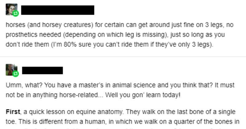 Tumblr user says that horses are fine to get around on three legs without prosthetics | horses and horsey creatures certain can get around just fine on 3 legs, no prosthetics needed (depending on which leg is missing just so long as don't ride them 80% sure can't ride them if they've only 3 legs Umm have master's animal science and think must not be anything horse-related Well gon' learn today! First quick lesson on equine anatomy. They walk on last bone single toe. This is different human