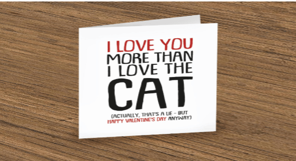 Funny Love Quotes From Cat Lovers | Greeting card black and red letters on a white card LOVE MORE THAN LOVE CAT ACTUALLY S LIE BUT HAPPY VALENTINE'S DAY ANYWAY