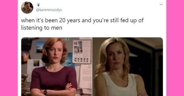 love, relationship tweets, funny tweets, valentine's day, relatable, women, memes, funny memes, tweets | x-files Gillian Anderson as Dana Scully with her arms crossed tweet by @karenmoodys s been 20 years and still fed up listening men FBI
