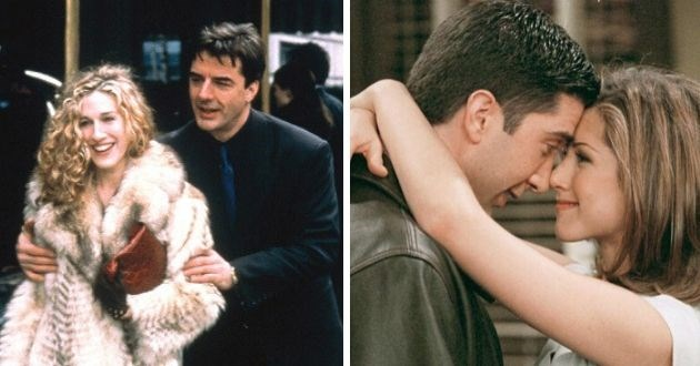 throwback, relationships, sitcoms, couples, TV, 90s, couples, valentines day, love, romance | sex and the city carrie and mr. big sarah jessica parker in fur coat. rachel and ross from friends hugging foreahds touching tv show jennifer aniston david schwimmer