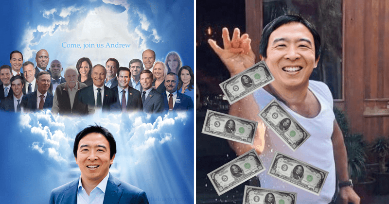"Funny memes about Andrew Yang, Andrew Yang drops out of presidential race | andrew yang meme heaven ""come join us andrew"" clouds separating to reveal holy light and presidential candidates who had dropped from the race. salt bae as andrew yang in a white shirt sprinkling dollar bills like salt."