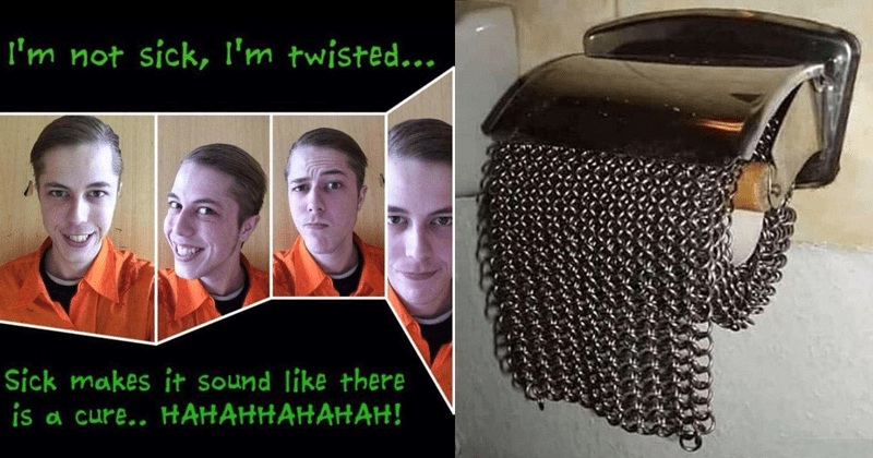 Cursed images and cringe pics, furries, cringey furry pics, funny cringe pics | guy wearing an orange shirt with his hair combed to the side taking selfies making different faces: not sick, l'm twisted Sick makes sound like there is cure HAHAHHAHAHAH! toilet paper roll except it's made from metal chain mail