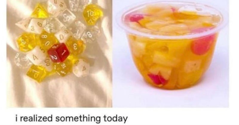 Stuff that looks like food but is not | schnetzle 10 3 realized something today orange red white clear dice plastic cup of fruit salad punch with cherries and orange fruits