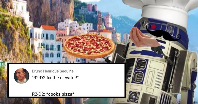 R2D2 in Italy video meme is hilarious | star wars androids robots Bruno Henrique Sequinel R2-D2 fix elevator R2-D2 cooks pizza robot with chef's hat and mustache holding a pizza and doing the italian chef's kiss hand gesture