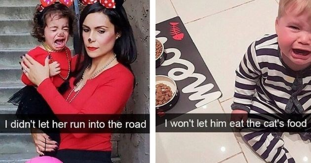 parents, kids, tantrum, share, crying, funny, reasons, captured | mother in despair and crying daughter dressed like minnie mouse didn't let her run into road. boy in striped onesie next to food bowls won't let him eat cat's food