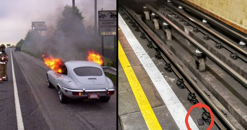 Messes, mistakes and failures | ACCIDENT INVESTIGATION SITE collector's car expensive vintage stopped at side of road fire burning coming out from window. smartphone that fell down between train tracks at a station just as a red train is approaching