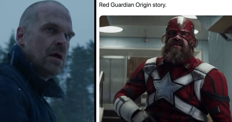 Stranger Things teaser inspires fans to imagine a crossover with Marvel | jim hopper with a shaved head and no beard standing in a snowy forest, red guardian bearded soviet marvel superhero also played by david harbour red guardian origin story