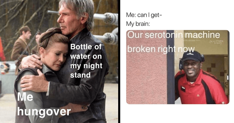 Funny memes, random memes, spongebob memes, star wars memes, relatable memes, dating memes, school memes, animal memes | han solo hugging princess leia organa Bottle water on my night stand hungover in stars wars. mcdonald's drive thru can get- My brain: Our serotonin machine broken right now