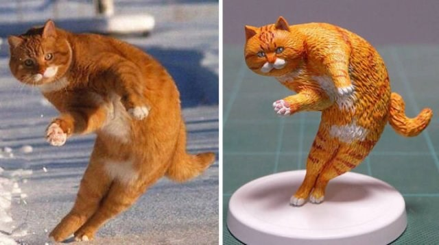 Cat Photos turned into Tiny Sculptures | photo of an orange cat with white paws and a mustache in the snow captured mid jump in a funny pose with its body curved to the side and its back legs on the ground, small sculpture of the same cat photographed from different angles