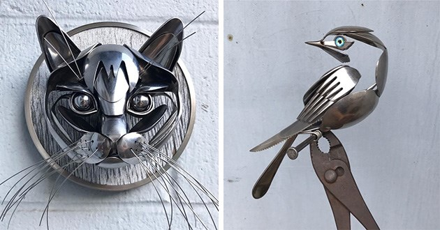 art sculptures animals beautiful artist amazing stunning sculpture recycled items cool metal | metal scraps cat face made from cutlery and wires for its whiskers bird made of bent forks knives and spoons sitting on a branch made from a nail and a plier