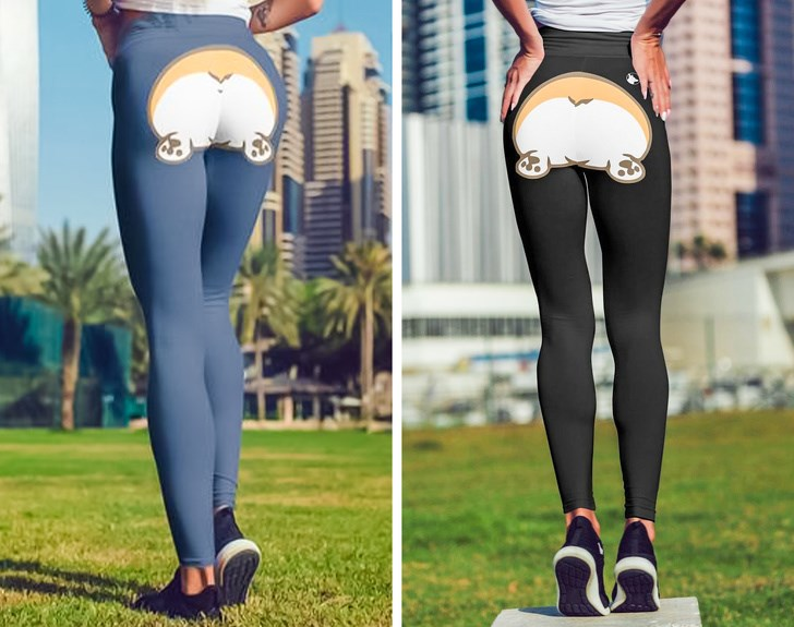 corgi butts leggings clothes etsy animals dogs booties | women modeling two pairs of leggings one blue and one black both with a print on the backside cartoon art corgi fluffy dog butt booty funny merch pet owners gifts