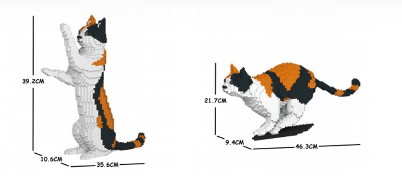 Company Offers Paw-mazing DIY Cat Model Kits | two models of a calico cat white black and orange made of lego parts one model sitting on its hind legs and reaching up with its paws 39.2 cm tall and second model on all fours ready to pounce 21.7 cm tall