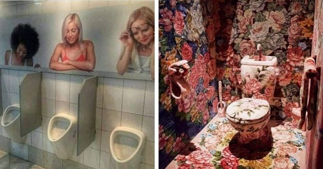 Facebook, toilets, funny pics, aura, threatening, weird, weird pics, bathroom, bathrooms | public bathroom restroom with pics of women on the wall looking down in amusement at the urinals | small bathroom with every inch completely covered in flowery pattern carpet including toilet paper towel and toilet brush