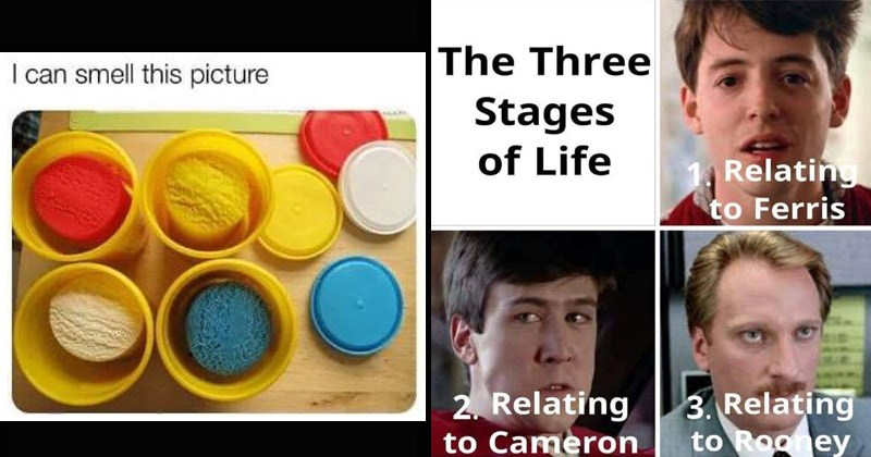 Funny memes and pictures from the 1980s and 1990s | can smell this picture colorful red white yellow blue play dough sand | Three Stages Life Relating Ferris 2. Relating Cameron 3. Relating Rooney ferris bueller's day off